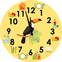 Children's wall clock with pictograms - Toucan