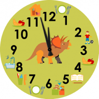 Children's wall clock  with pictograms of daily schedule - Dino