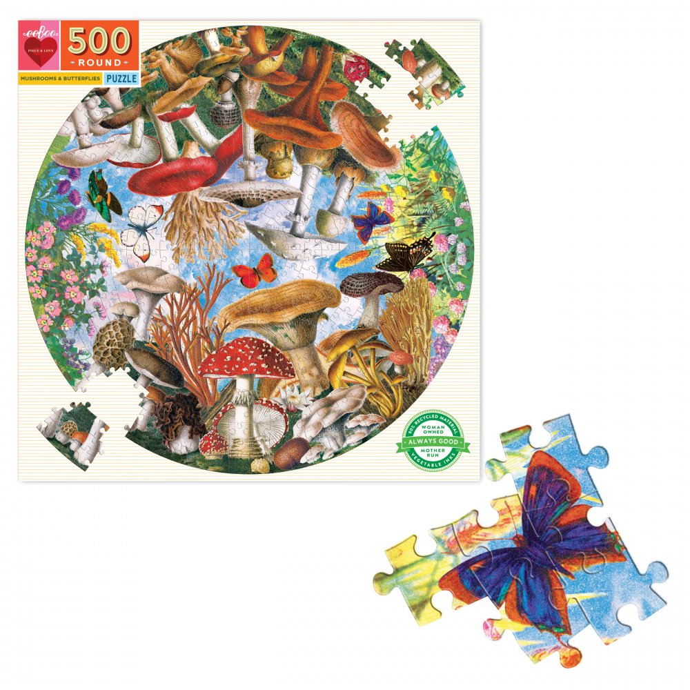 Mushrooms and Butterflies 500 Piece Round Puzzle