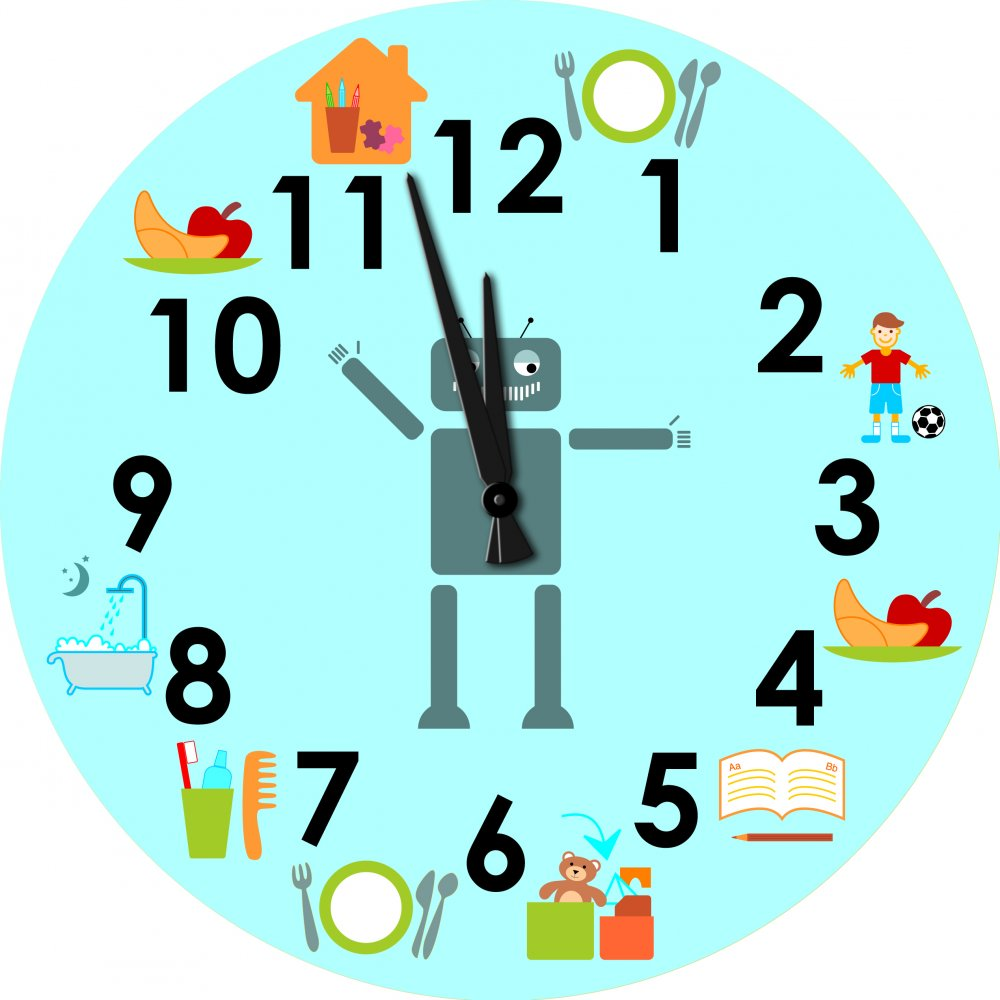 Children's wall clock  with pictograms of daily schedule - Robot
